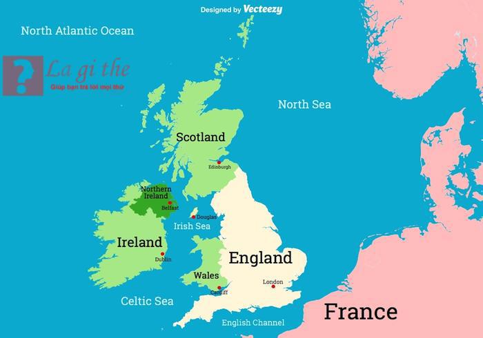 bản đồ UK - Britain và các bang
