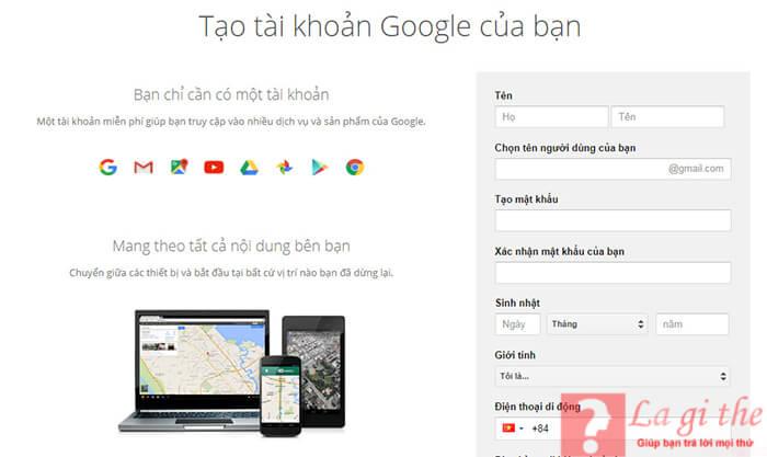 Cách tạo gmail