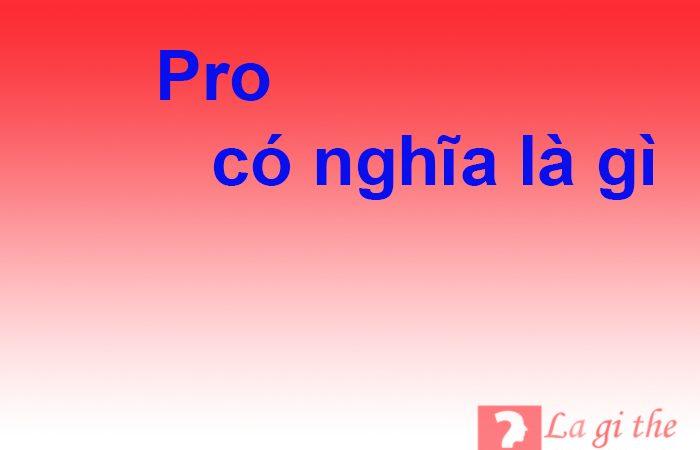 Pro là gì – Viết tắt của từ nào và ý nghĩa ra sao trong tiếng Anh