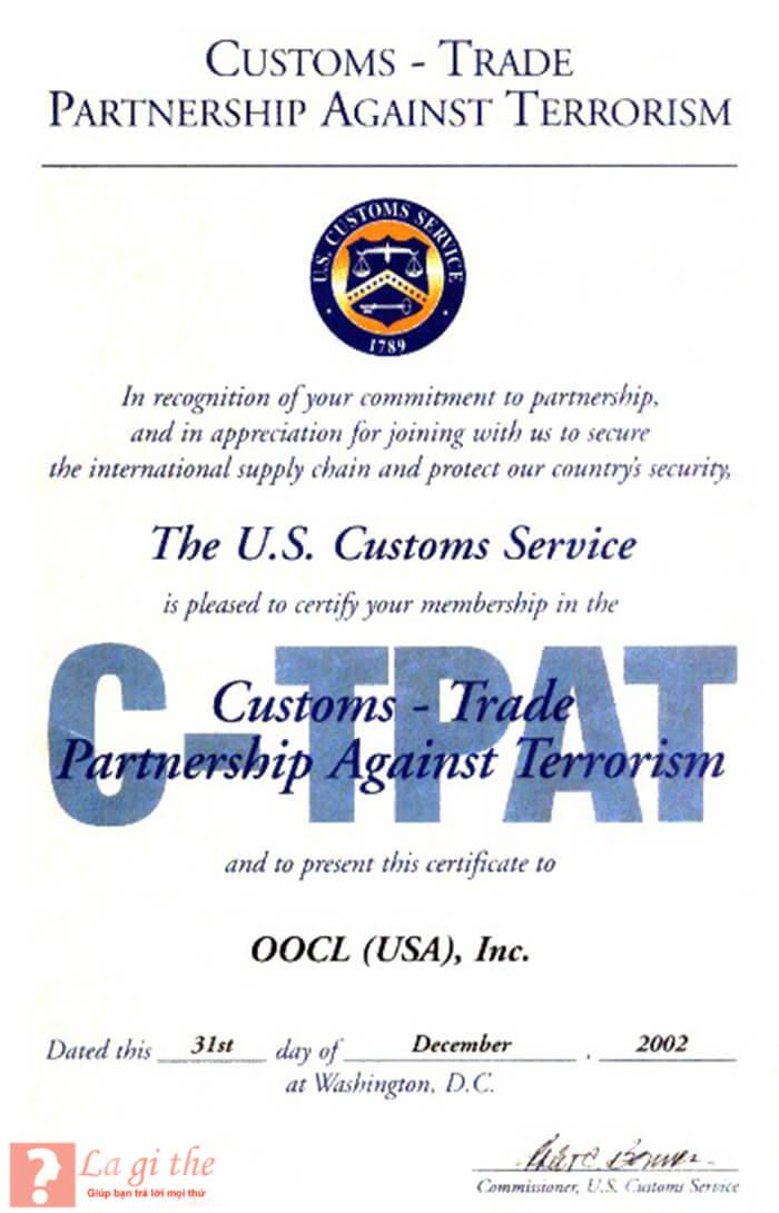 CTPAT Certificate